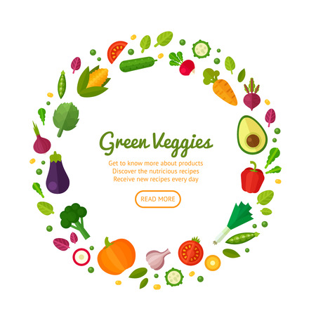 Ilustración de Advertisement set of concept banners with flat vegetable icons for vegetarian restaurant home cooking menu and organic healthy eating recipes - Imagen libre de derechos