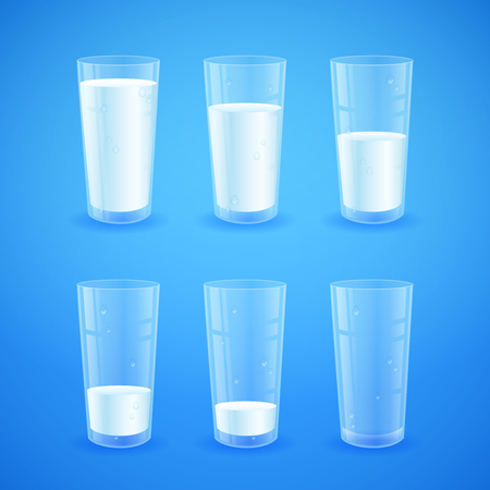Illustration pour Transparent realistic glasses of milk on blue background, from full to half filled to empty, nutricios and organic, for breakfast - image libre de droit