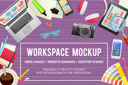 Illustration pour Flat concept template for education, study, business, web design. Isolated workspace elements on wooden background - desktop devices and gadgets for banners and advertisement - image libre de droit