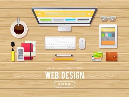 Ilustración de Flat design illustration concept for webdesign, web banners, managers, teamwork, business. Isolated on wood background - computer, tablet,sketchbook, phone - Imagen libre de derechos