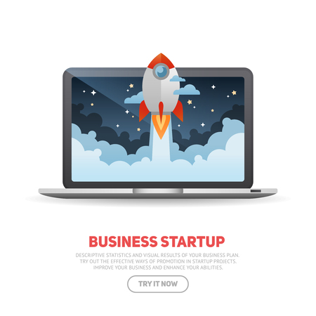 Illustration pour Business start up concept template with realistic laptop and flat cartoon rocket flying out of the desktop screen, isolated on white banner - image libre de droit
