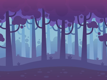 Illustration for Game Seamless Horizontal Forest Background for side scrolling 2D games, action, adventure, hack and slash for PC computers, mobile apps and browsers - Royalty Free Image