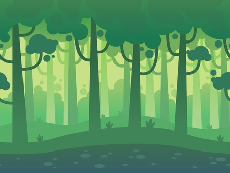 Illustration pour Game Seamless Horizontal Forest Background for side scrolling 2D games, action, adventure, hack and slash for PC computers, mobile apps and browsers - image libre de droit