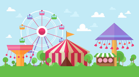 Illustration for Flat Retro Funfair Scenery with amusement attractions and carousels in colorful cartoon vintage style - Royalty Free Image