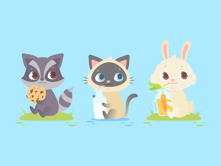 Ilustración de Cute baby animals sitting, baby raccoon, kitten, bunny. Great for kids and children designs of clothes, apparel, toys, mobile games and web sites. Isolated on blue background. - Imagen libre de derechos