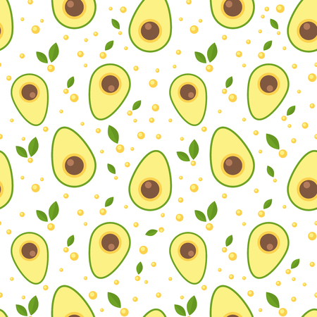 Ilustración de Avocado seamless pattern for print and fabric. Eco, organic, vegan and raw products and packaging. Texture for healthy food and life - Imagen libre de derechos
