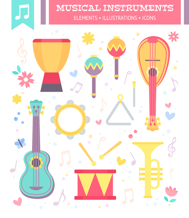Illustration for Flat musical instruments isolated on white background with notes. Vector illustration. - Royalty Free Image