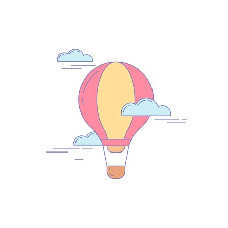 Illustration pour Air Balloon Line Icon for Landing Website - image libre de droit