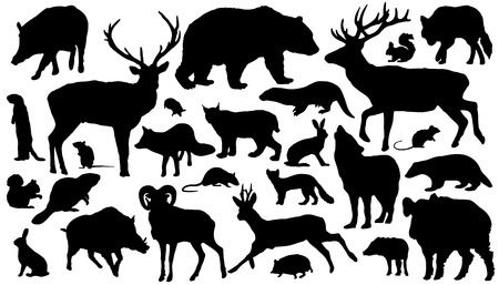 Ilustración de twenty-seven forest animal silhouettes on the white background - Imagen libre de derechos