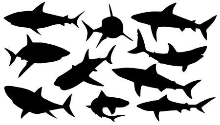 Ilustración de shark silhouettes on the white background - Imagen libre de derechos