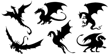 Illustration pour dragon silhouettes on the white background - image libre de droit