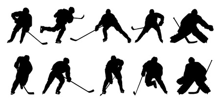 Illustration for hockey player silhouettes on the white background - Royalty Free Image