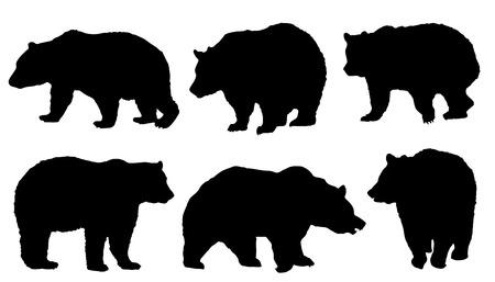 Illustration pour bear silhouettes on the white background - image libre de droit