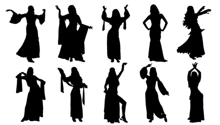 Ilustración de dancer silhouettes on the white background - Imagen libre de derechos