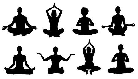 Illustration pour meditation silhouettes on the white background - image libre de droit