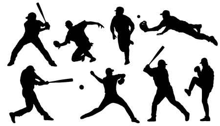 baseball sihouettes on the white background