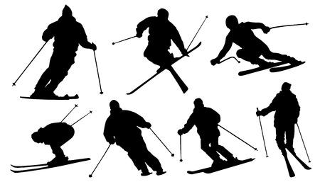 ski silhouettes on the white background