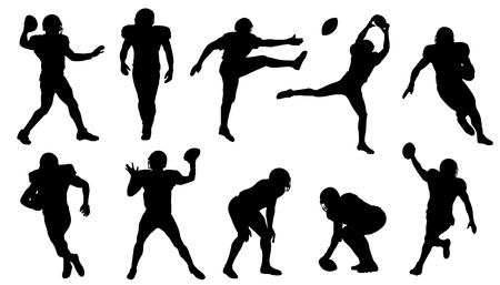 Illustration for football silhouettes on the white background - Royalty Free Image