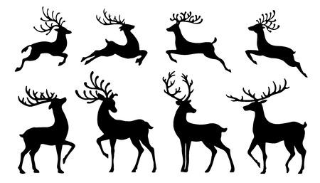 Ilustración de christmas reindeer silhouettes on the white background - Imagen libre de derechos