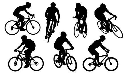 Illustration for bike silhouettes on the white background - Royalty Free Image