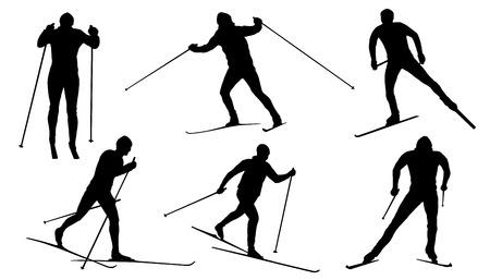 Illustration pour cross country ski silhouettes on the white background - image libre de droit