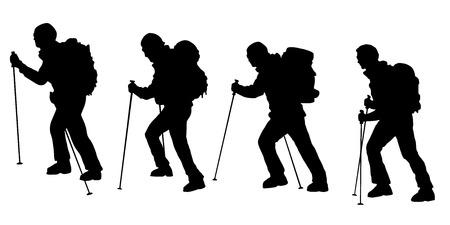 Illustration pour hiker v3 silhouettes on the white background - image libre de droit