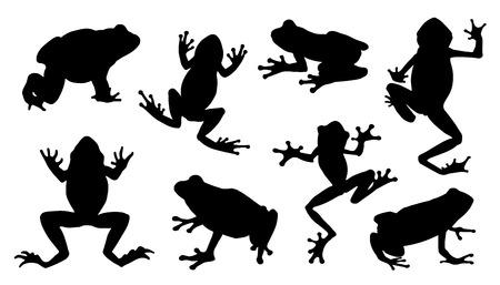 Ilustración de frog silhouettes on the white background - Imagen libre de derechos