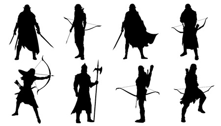 Illustration pour elf silhouettes on the white background - image libre de droit