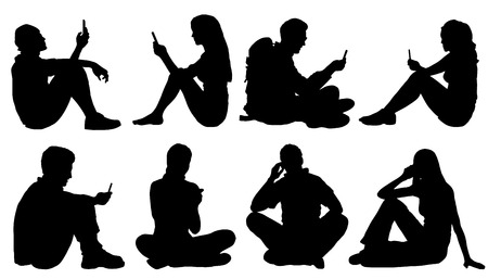 Illustrazione per sitting poeple use smartphone silhouettes on the white background - Immagini Royalty Free