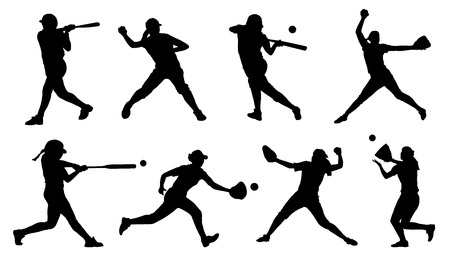 Ilustración de softball silhouettes on the white background - Imagen libre de derechos