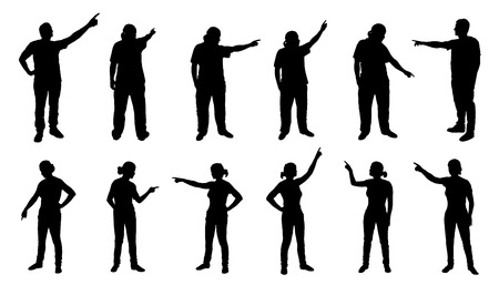 Illustration pour people pointing silhouettes on the white background - image libre de droit