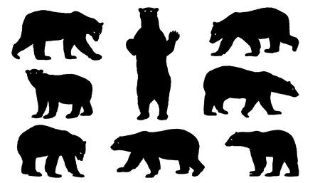 Illustration pour polar bear silhouettes on the white background - image libre de droit