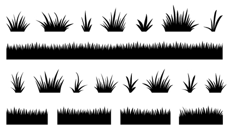 Illustration pour grass silhouettes2 on the white background - image libre de droit