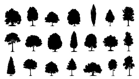 Ilustración de tree silhouettes on the white background - Imagen libre de derechos