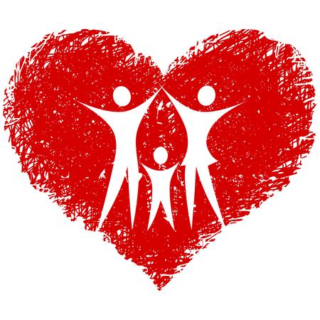 Illustration pour family   with hand drawn heart - image libre de droit