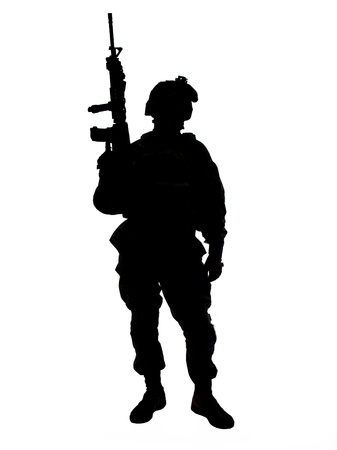 Photo for Silhouette of US soldier with rifle - Royalty Free Image