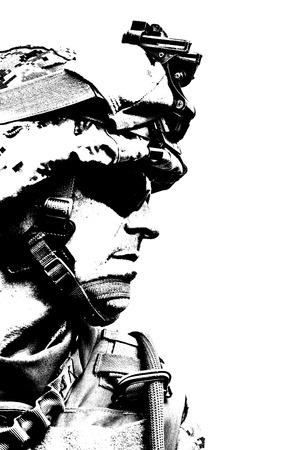 Photo pour Black white image of US marine in uniform - image libre de droit