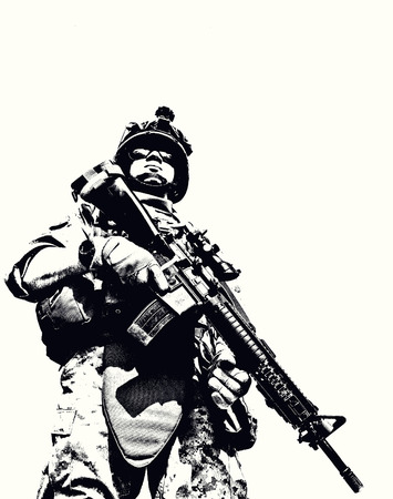 Foto de Black white image of US marine in uniform - Imagen libre de derechos
