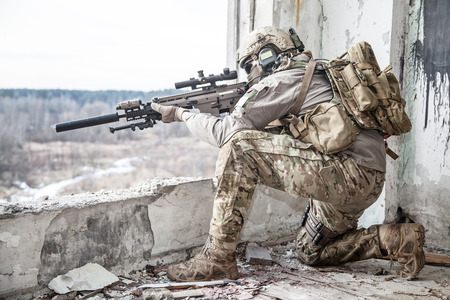 Foto de United States Army ranger during the military operation - Imagen libre de derechos