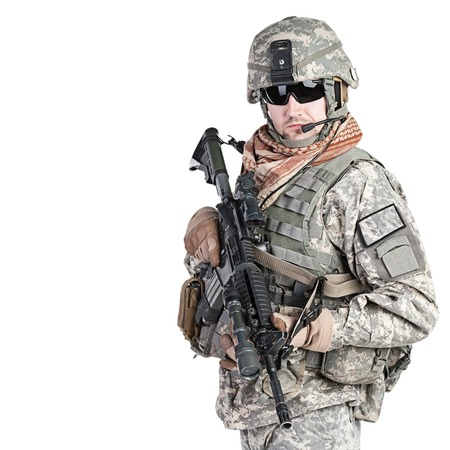 Foto de United States paratrooper airborne infantry studio shot on white background - Imagen libre de derechos