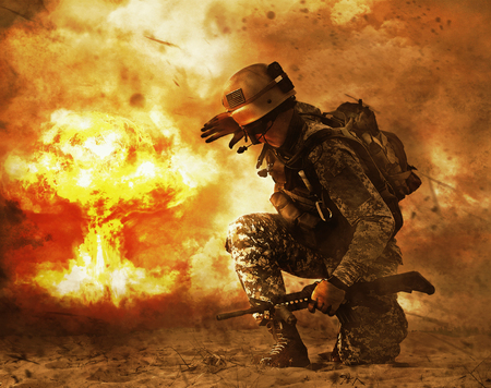 Photo pour US soldier in the desert during the military operation turning to nuclear explosion mushroom cloud covering his eyes. He is doomed - image libre de droit