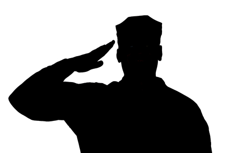Foto de Shoulder silhouette of saluting army soldier in utility cover or cap isolated on white background. Troops hand salute ceremonial greeting, showing respect in army, military funeral honors concept - Imagen libre de derechos