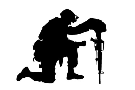 Photo for Army soldier in sorrow for fallen comrade, standing on knee, leaning on rifle with helmet and two dog tags on chain, studio shoot isolated on white low key silhouette. Military funeral honors, grief for killed in action - Royalty Free Image