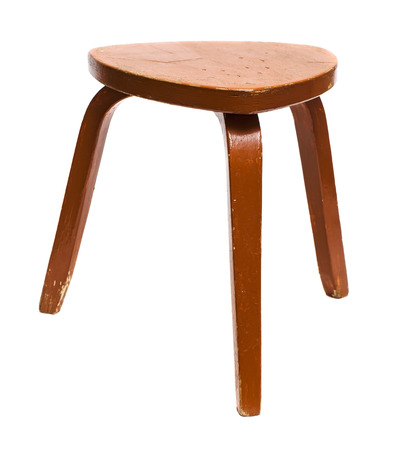 Photo pour Old wooden stool isolated on white background - image libre de droit