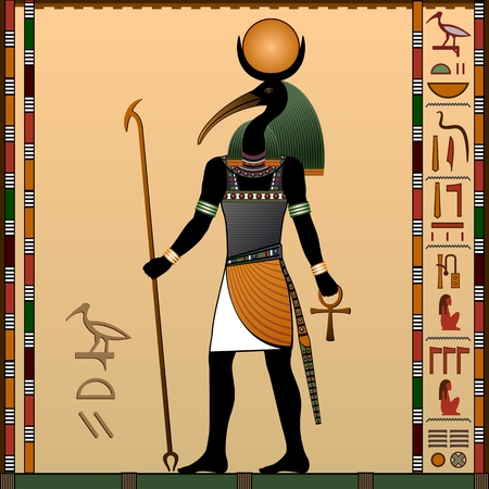 Illustration for Religion of Ancient Egypt. Thoth - the ancient Egyptian god of wisdom and knowledge. God with the head of an ibis. Vector illustration. - Royalty Free Image