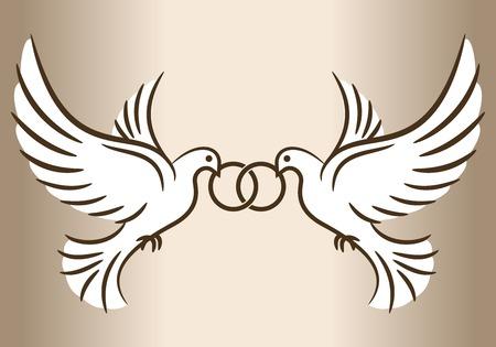 Illustration pour Two doves. Stylized pigeons and wedding rings. Vector illustration. - image libre de droit