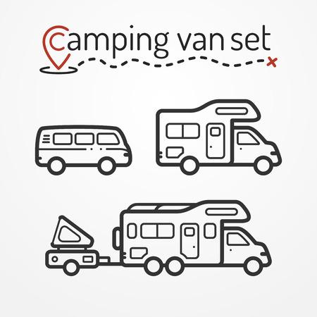 Illustration pour Set of camping van icons. Travel van symbols in silhouette line style. Camping van stock illustration. Van and RVs with camping equipment. - image libre de droit
