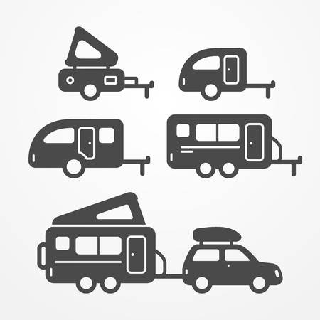 Illustration pour Set of camping trailer icons. Travel trailer symbols in silhouette style. Camping trailers stock illustration. Five trailers with camping equipment. - image libre de droit