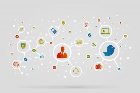 Ilustración de Communication icons abstract vector background - Imagen libre de derechos