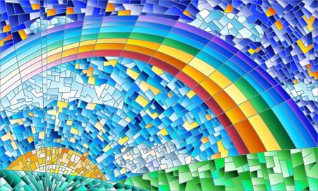 Illustration for Illustration in the style of a stained glass window with an abstract landscape, field, sun, sky and rainbow - Royalty Free Image